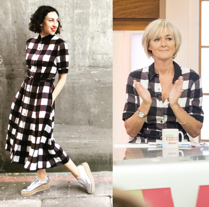 Jane Moore and Mother Shoppers blogger Bertie wearing our gingham shirt dress