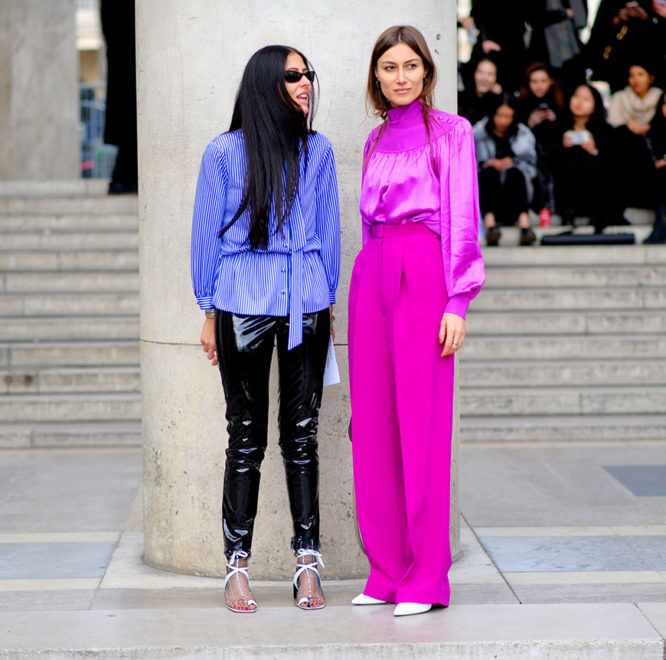 Hot pink is huge this season, and the street style set love it