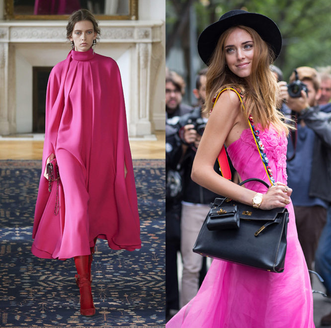 Pink on the Valentino catwalk and on super-blogger Chiara Ferragni