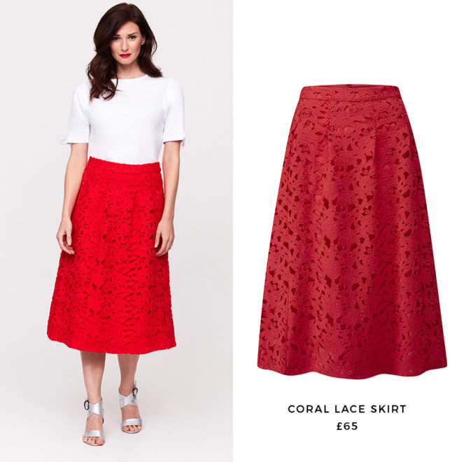 Turn heads in the office in a statement red lace skirt.
