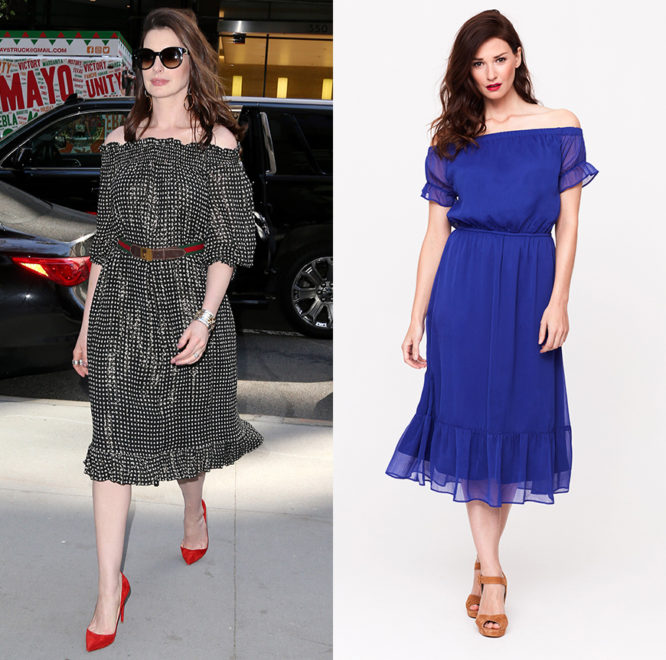 Channel Anne Hathaway this summer with our frill hem Bardot dress