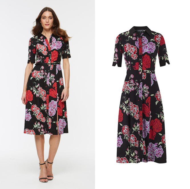 Bright florals and a dark base colour make for a dress that works rain or shine.