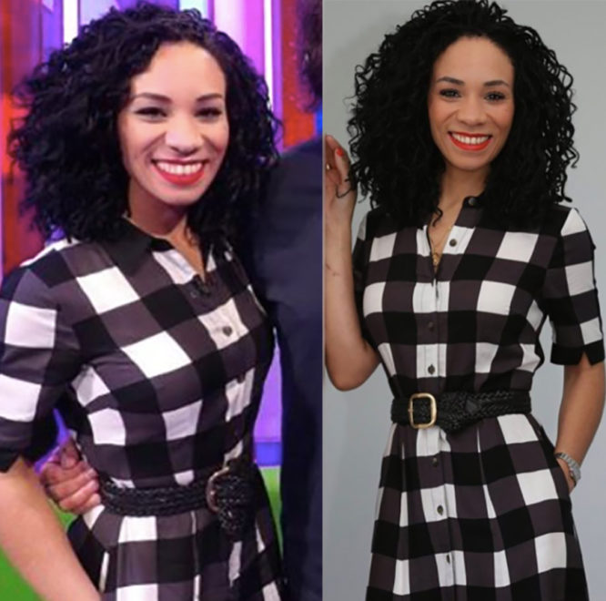 The One Show presenter Michelle Ackerley wearing the Sosandar gingham shirt dress, £79