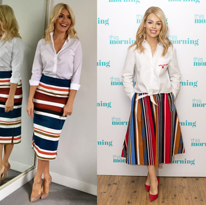 Holly Willoughby and Katie Piper styling their white shirts with striped skirts
