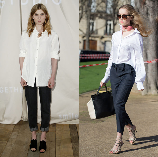 Clemente Poesy and a street styler wearing white shirts with denim and tailoring