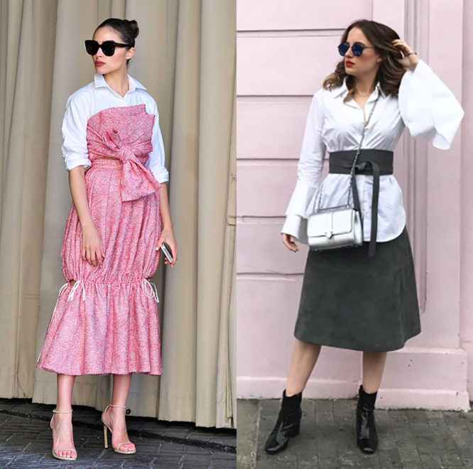 Actress and street style star Olivia Culpo and Rosie Fortescue get creative with their white shirts