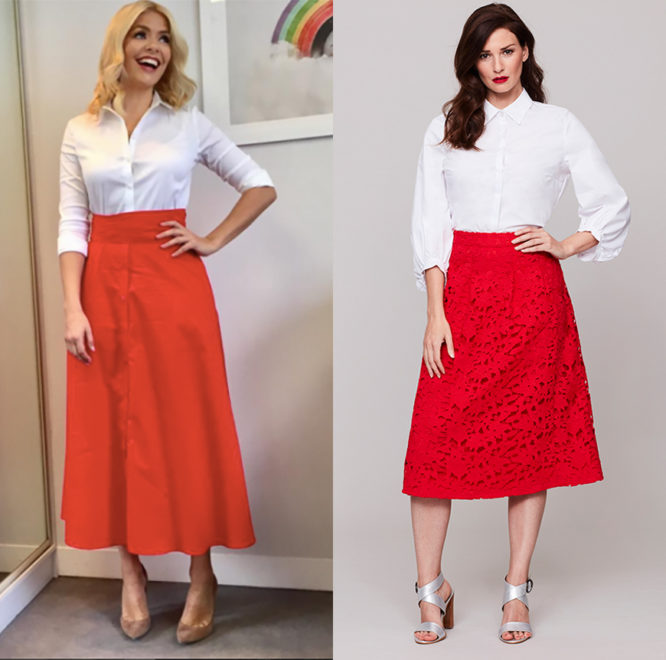 Holly Willoughby wearing a white shirt - get the look with our blouson sleeve shirt, £39, and red skirt, £45.