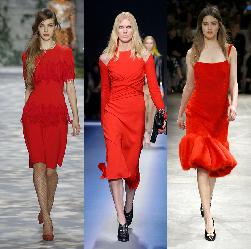 Red dresses on the Jenny Packham, Versace and Prada AW17 catwalks.