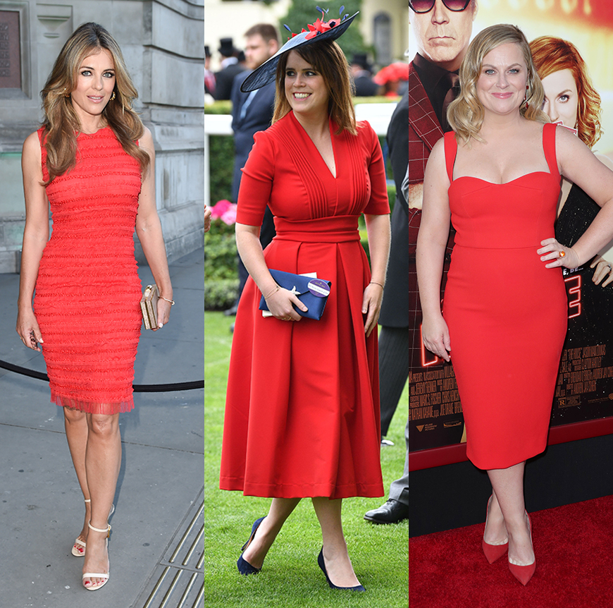 Elizabeth Hurley, Princess Eugenie and Amy Poehler: proof the red dress suits everyone.