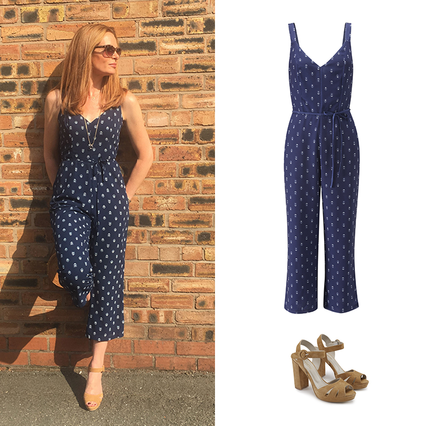Head of Design Anna works a perfect summer city look in our printed jumpsuit and platforms.