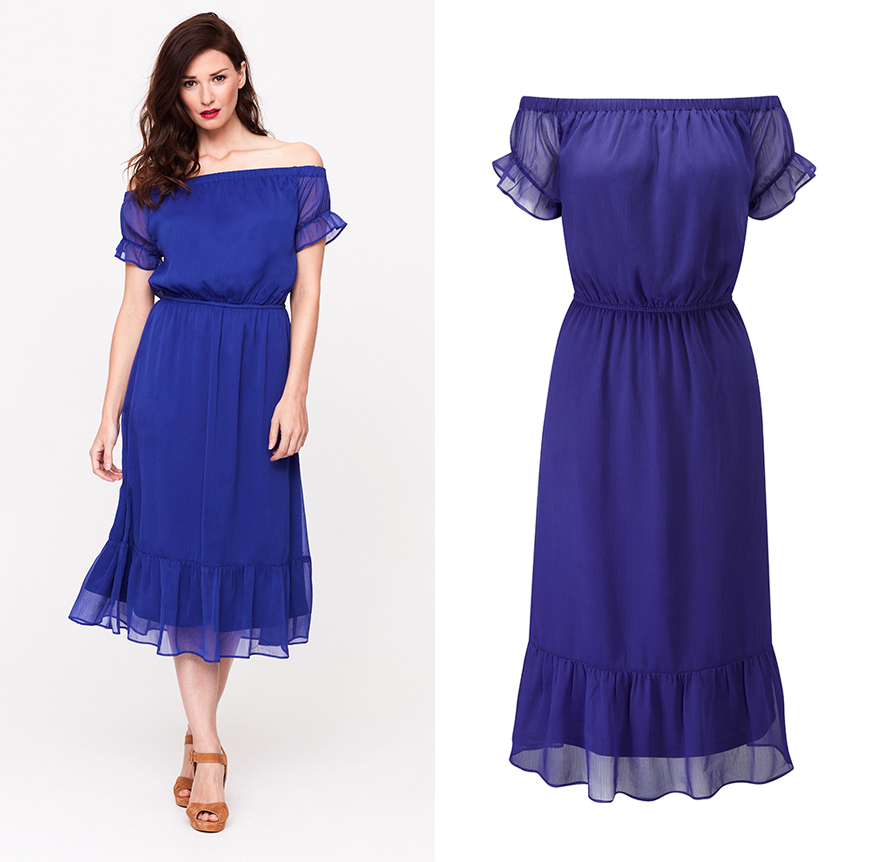 Show off sexy shoulders in our blue Bardot dress, £59