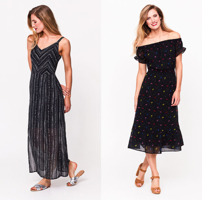 Monochrome Printed Maxi Dress, £59, Ditsy Floral Bardot Dress, £59