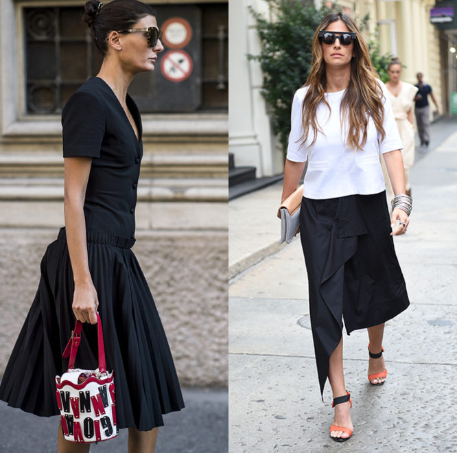 Fashion Editor Giovanna Battaglia and a street styler pair their black looks with bright accessories.