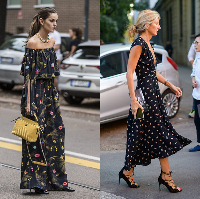 Supermodel Izabel Goulart and a street styler wear black printed dresses