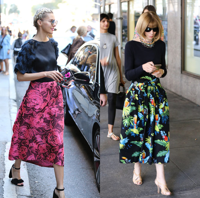 Anna Wintour and a fellow street style star pair black tops with bold printed skirts