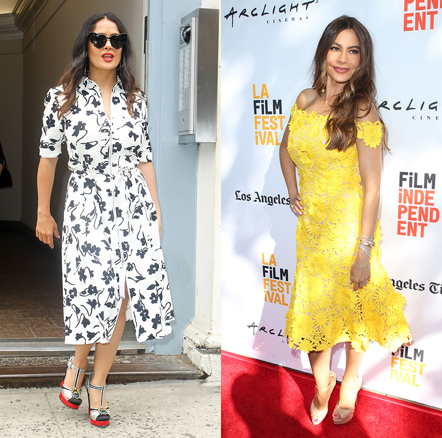 Salma Hayek and Sofia Vergara know how to fid the perfect figure flattering dresses.