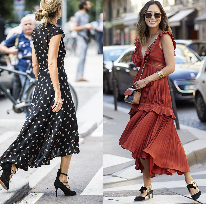 Street style stars Sarah Rutson and Aimee Song prove longer dresses can still be sexy.