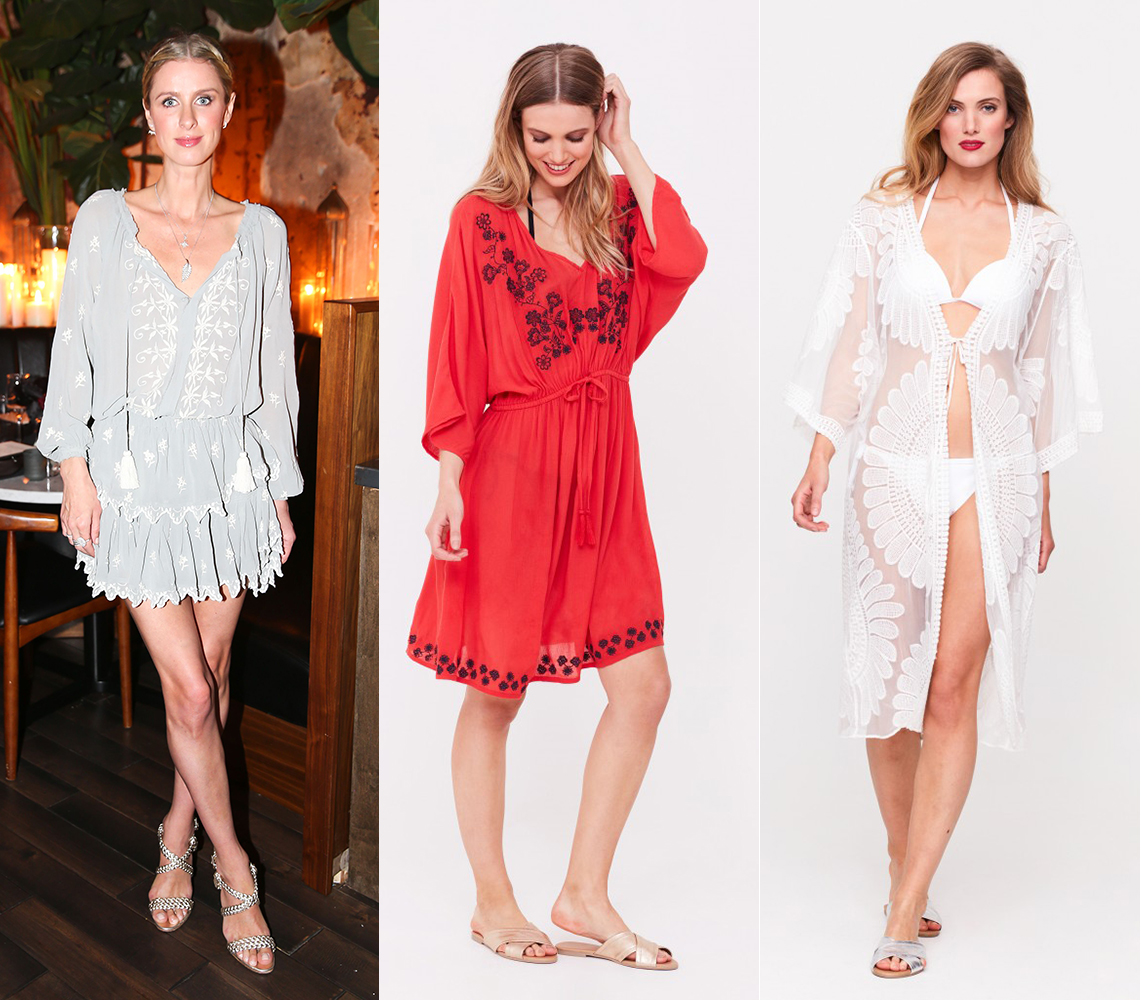 Nicky Hilton works the embroidery trend. Kimonos, £49.