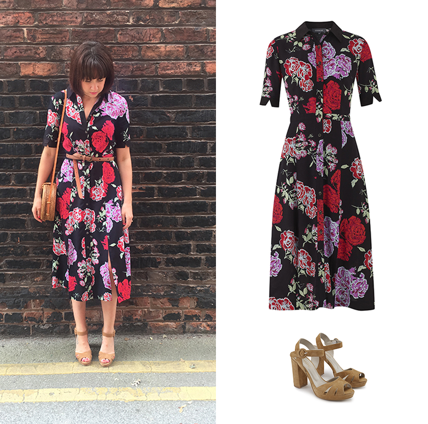 A classic shirtdress makes bold florals work for the office and off-duty.