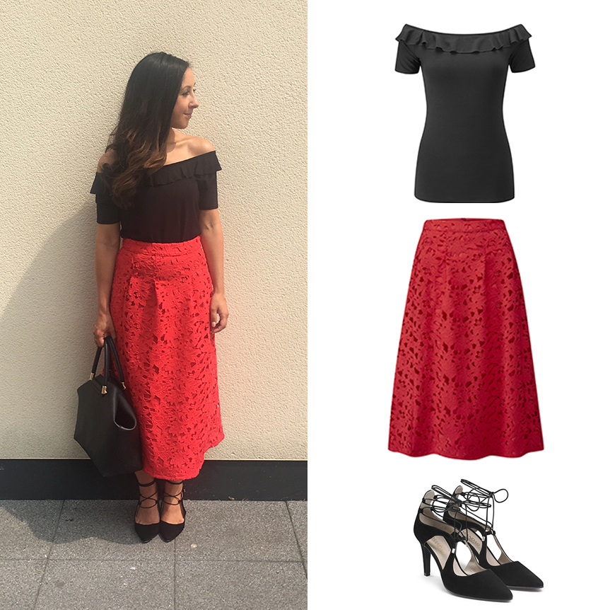 Marketing Manager Lauren works a statement look in our red lace skirt and Bardot top.