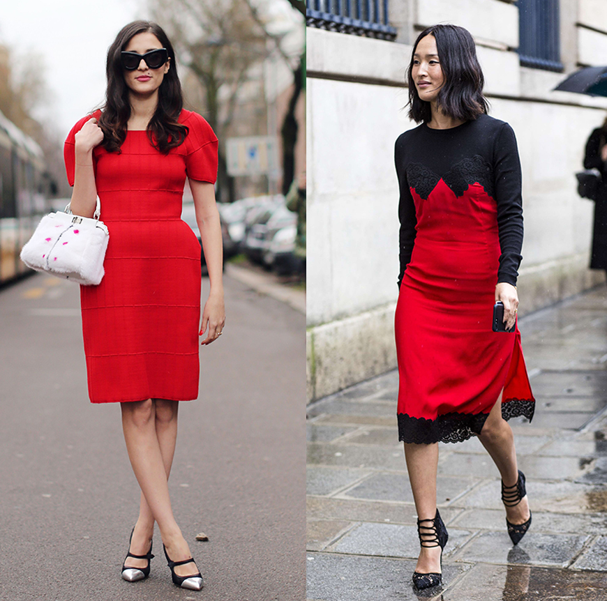 Style icon Eleonora Carisi and mega blogger Nicole Warne wear red dresses to fashion week.