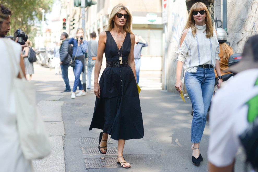Fashionista Sarah Rutson nails summer black in a chic sleeveless dress