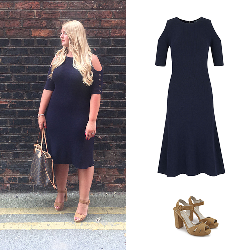Our cold shoulder navy dress is PA Sarah's temperamental weather go-to.
