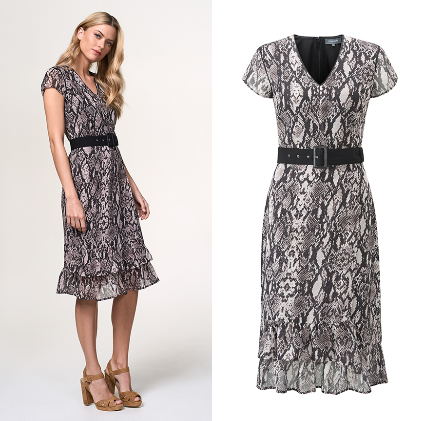 Define your waist with our python print dress, £69