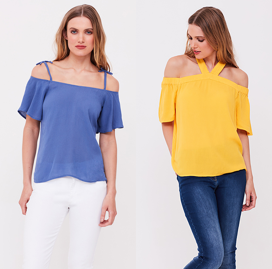 Blue bow strap cold-shoulder top and yellow halter neck Bardot top, both £35.