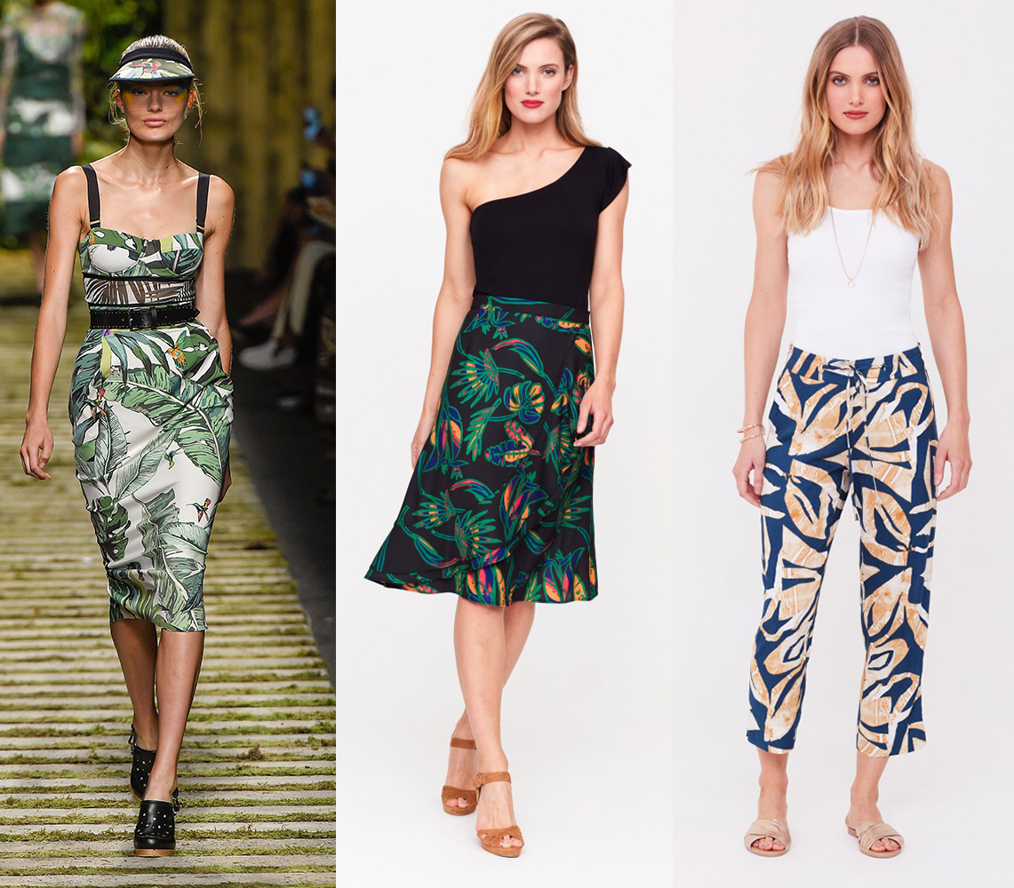 Max Mara's tropical SS17 collection. Try the trend with our trousers, £45 and skirt, £59.