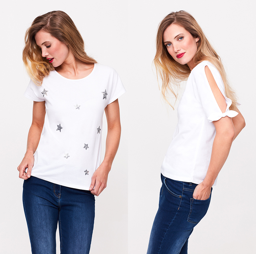 White sequin star t-shirt and white tie-side t-shirt, both £25.