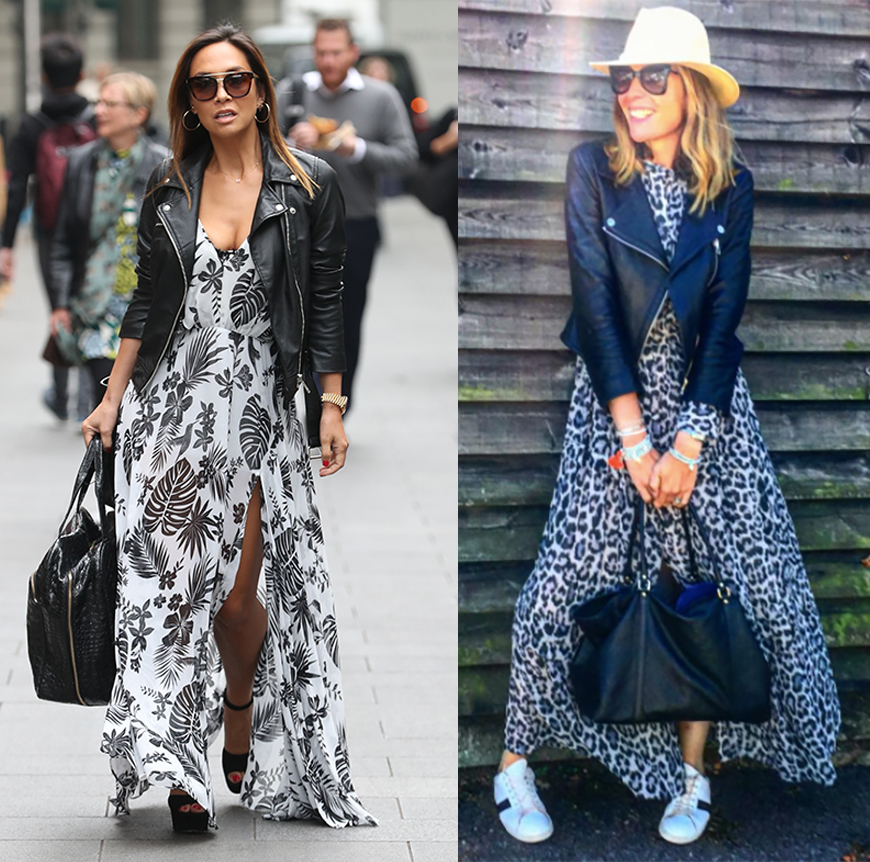 Myleene Klass and Blogger Kat Farmer style their maxi dresses with leather jackets.