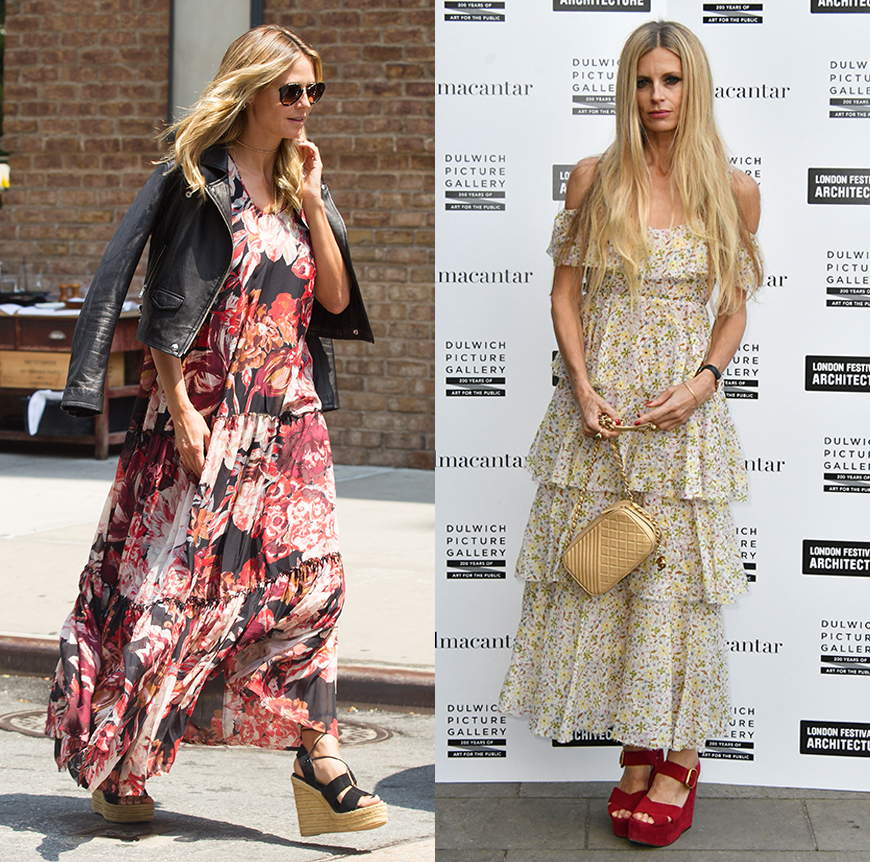 Heidi Klum and Laura Bailey rocking wedges with their maxi dresses.