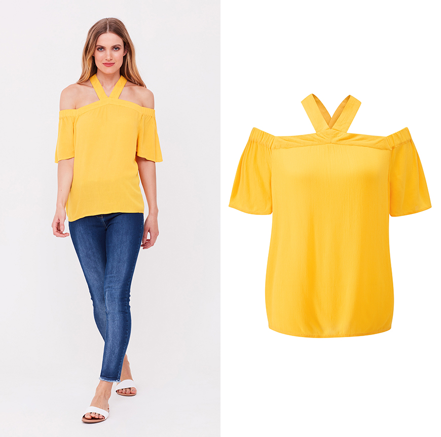 Yellow Cross Back Bardot Top, £35