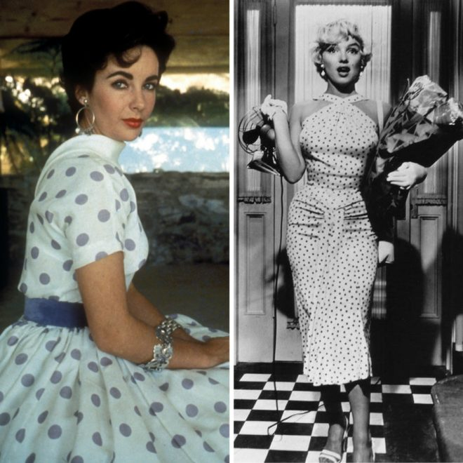 Elizabeth Taylor and Marilyn Monroe in polka dots