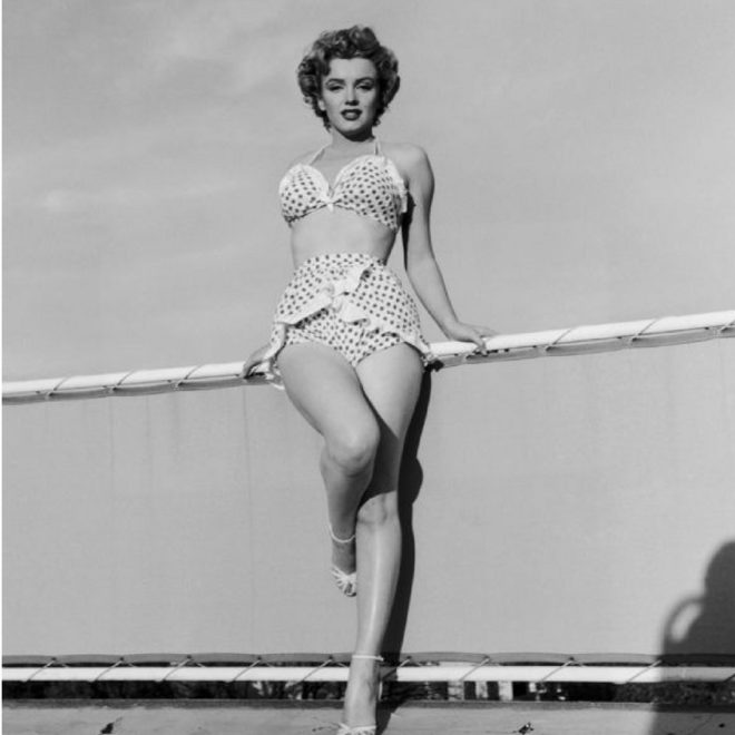 Marilyn Monroe in her polka dot bikini
