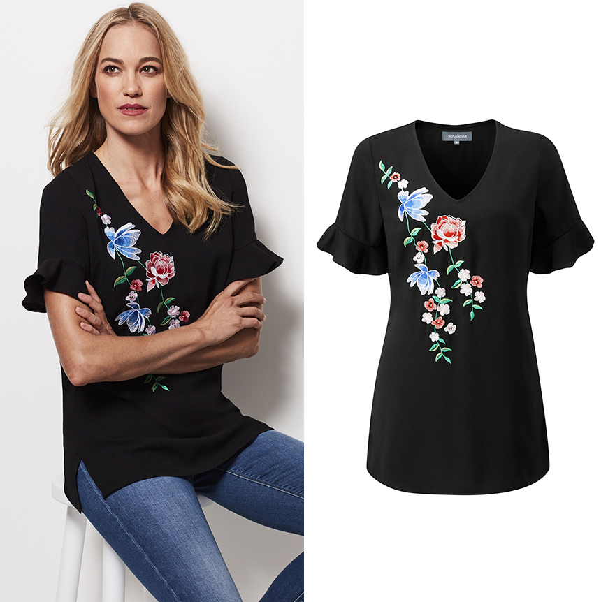 Embroidered V-Neck Flute Sleeve Top, £45.