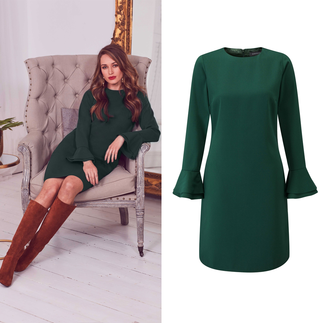 Green Flute Sleeve Shift Dress